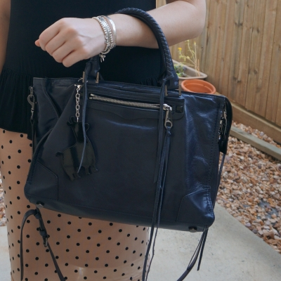 black and pink outfit with navy bag Rebecca Minkoff Regan Satchel Tote in moon | away from the blue