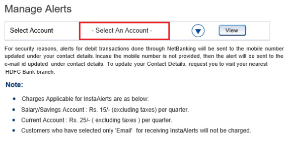 how to deactivate sms alert in hdfc bank online