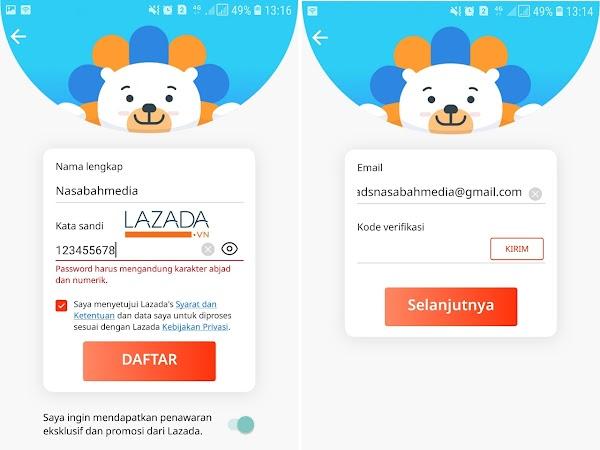 Contoh Password dan Email Lazada Yang Benar