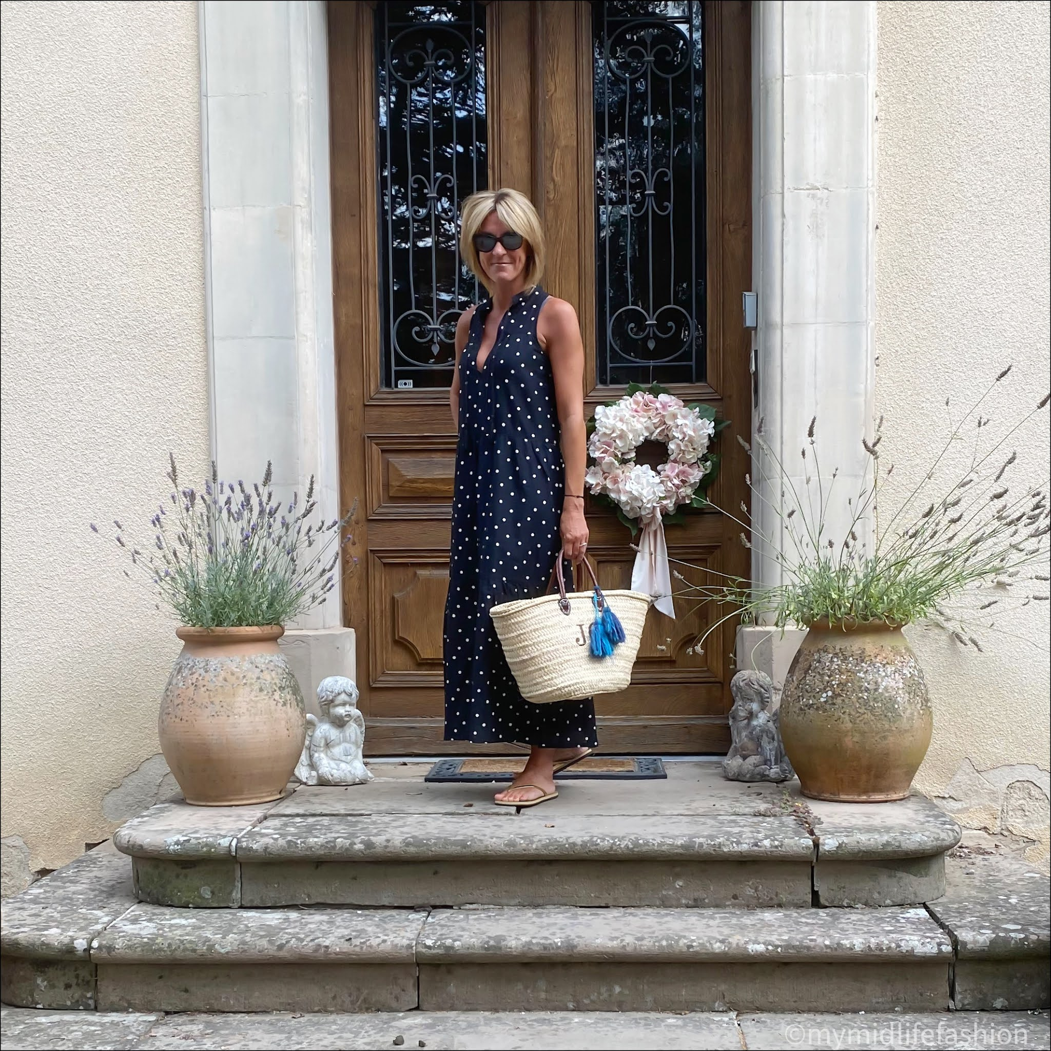 My midlife fashion, j crew polka dot maxi dress, initially London covent short handled basket, havaianas gold slim fit flip flops