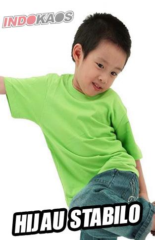 Kaos Anak Polos Hijau Stabilo