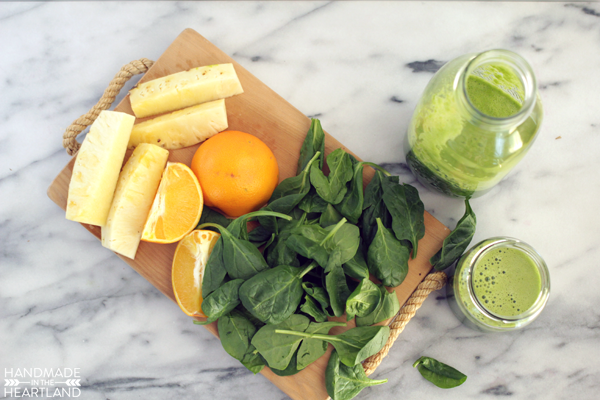 Orange, Pineapple & Spinach Fresh Juice