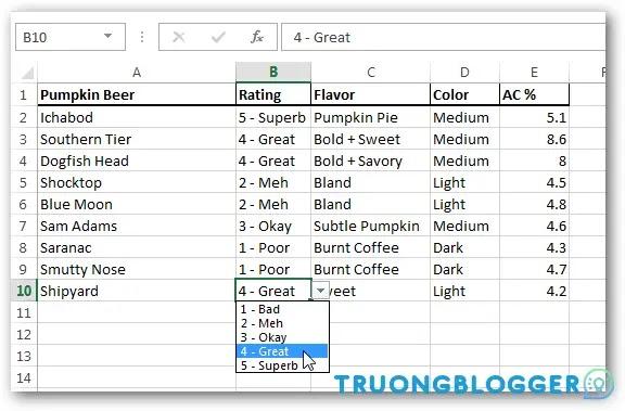 Cách sử dụng Data Validation trong Excel tạo list nhập nhanh dữ liệu