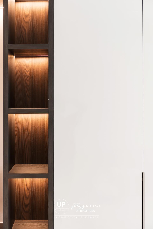 trinity aquata condo living area display open shelf in dark wood grain and white color laminate