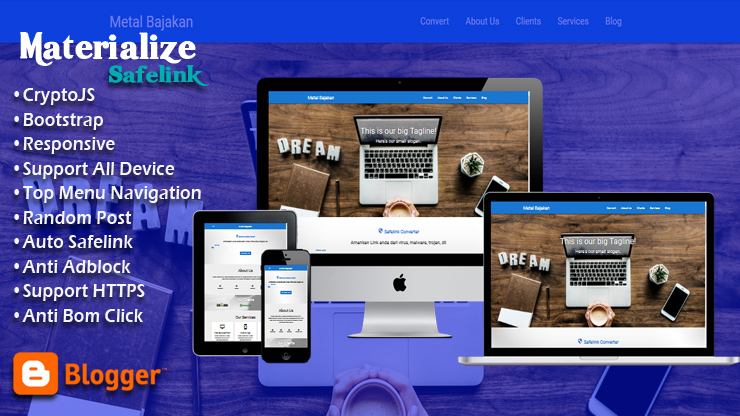 Safelink with Materialize CSS Responsive Blogger Template