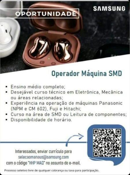 OPERADOR DE MÁQUINA SMD - SAMSUNG