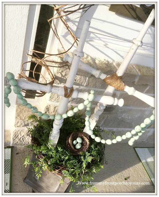 French Country Farmhouse Decor-Spring Decor-Easter Decor-DIY Crosses-Vintage Style-Spring Porch-From My Front Porch To Yours