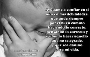 imagen con oracion para los hijos Dios me ayude a no pecar oraciones familia
