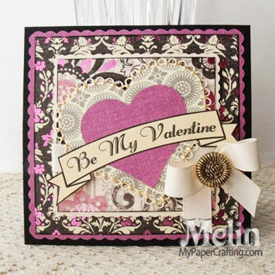 DCWV Black Currant Valentine SVG Heart Love Card