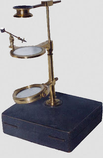 A simple microscope with a metal stand, stage, and slant wings - labeled.images