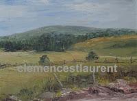Le mont Comi vu de St-Donat de Rimouski, huile 9 x 12, 1990, par Clémence St-Laurent - paysage d'été à la campagne