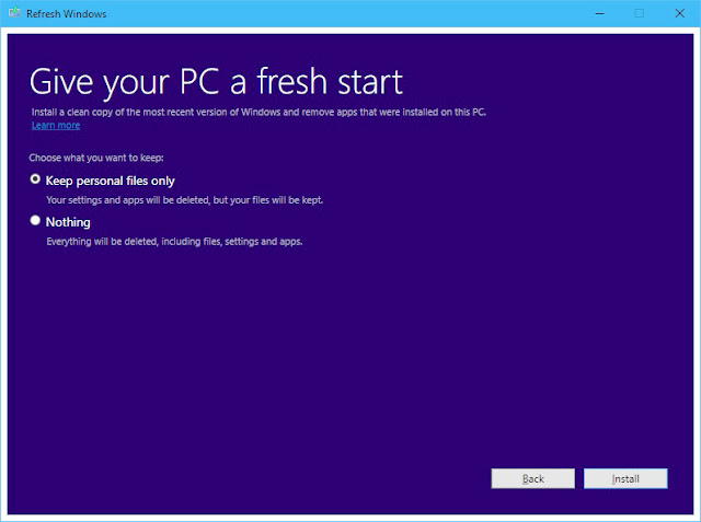 Refresh Windows Tool for Windows 10