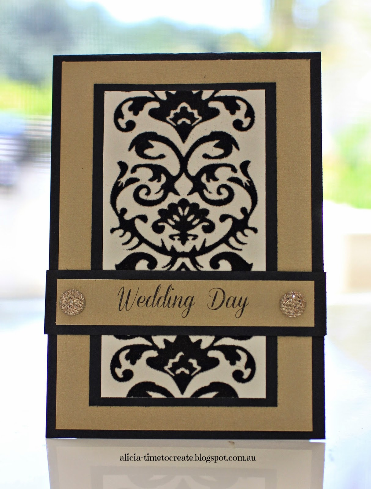 Gold, Black and Cream Wedding Card