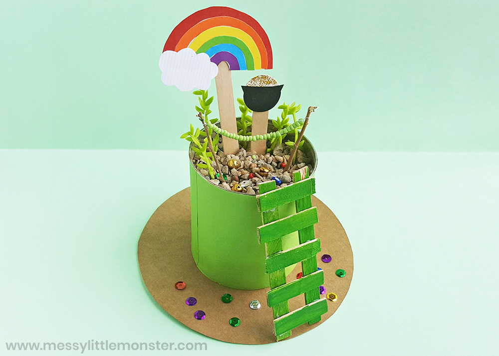 How to make a leprechaun trap as a St Patricks day craft for kids.