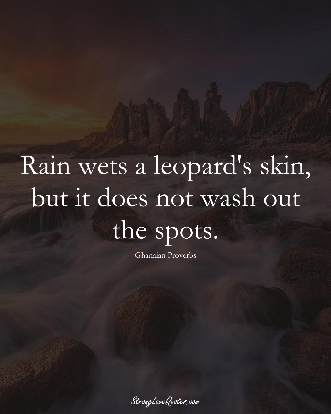 Rain wets a leopard's skin, but it does not wash out the spots. (Ghanaian Sayings);  #AfricanSayings