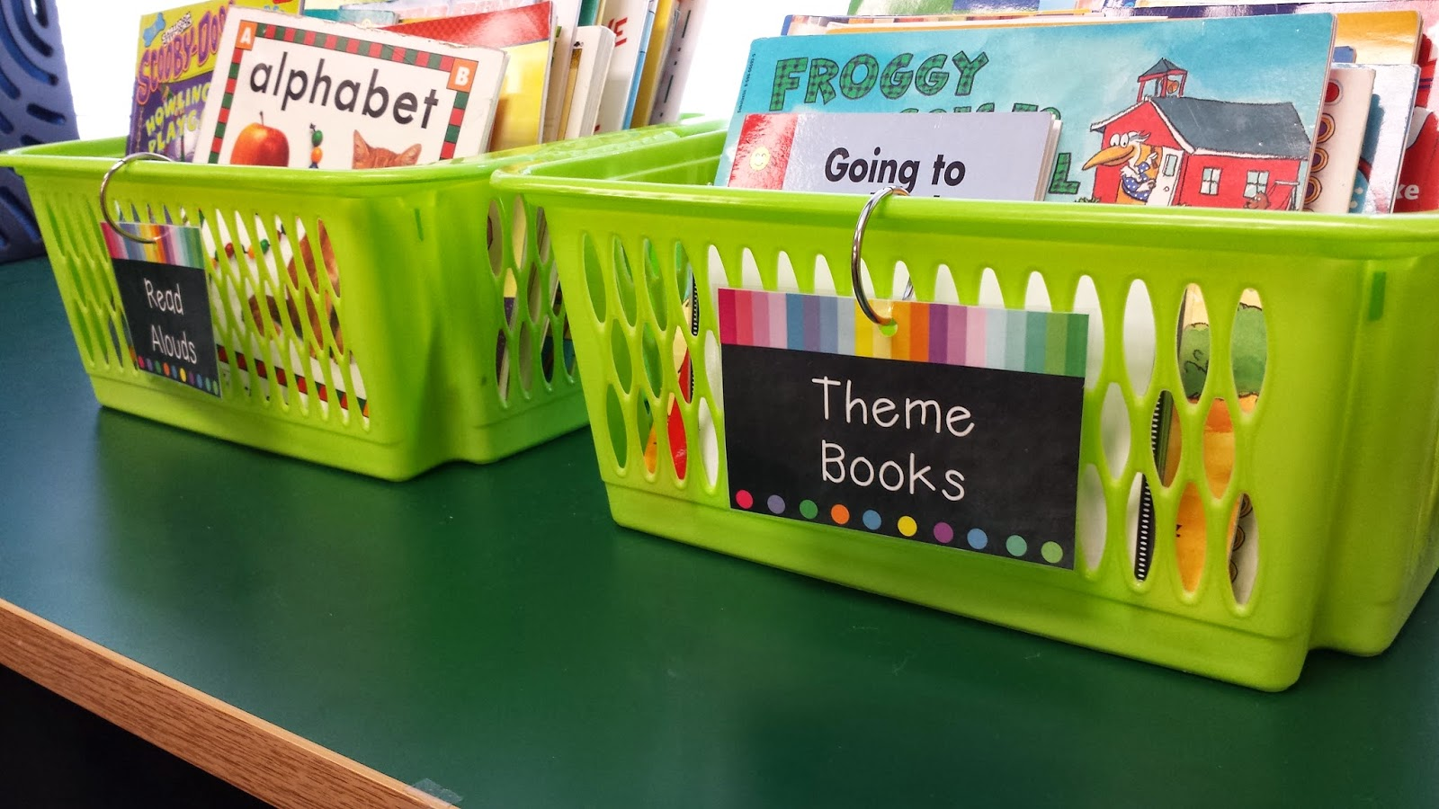 photo of bins of theme books and read aloud books