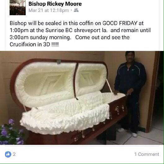 US pastor plans to seal himself inside coffin for 3 days to recreate Jesus' resurrection (See Photos)