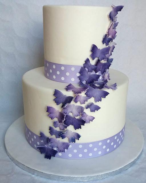 torta battesimo farfalle lilla e viola