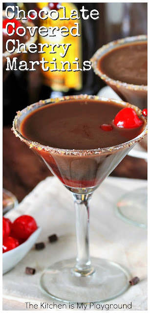 Chocolate Covered Cherry Martinis ~ Get your chocolate covered cherry fix in cocktail form! Chocolate covered cherry lovers will flip for this decadently delicious drink.  www.thekitchenismyplayground.com