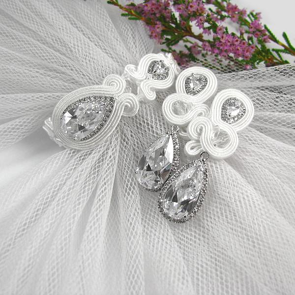 aef1b72a Komplet biżuterii ślubnej sutasz z kryształami Swarovski