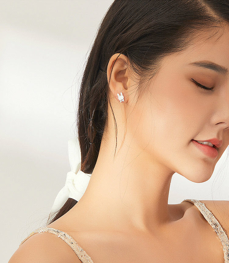 滴釉蝴蝶結兔兔 925純銀鋯石耳環
