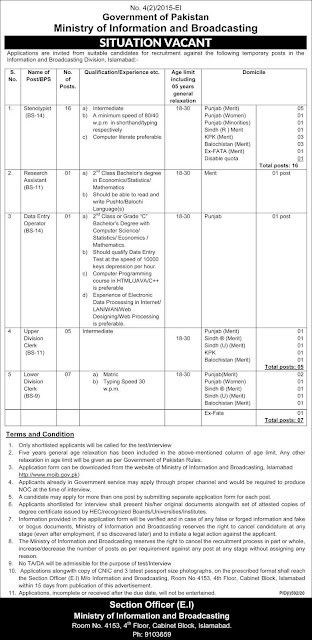 Ministry of Information And Broadcasting Government Jobs 2020