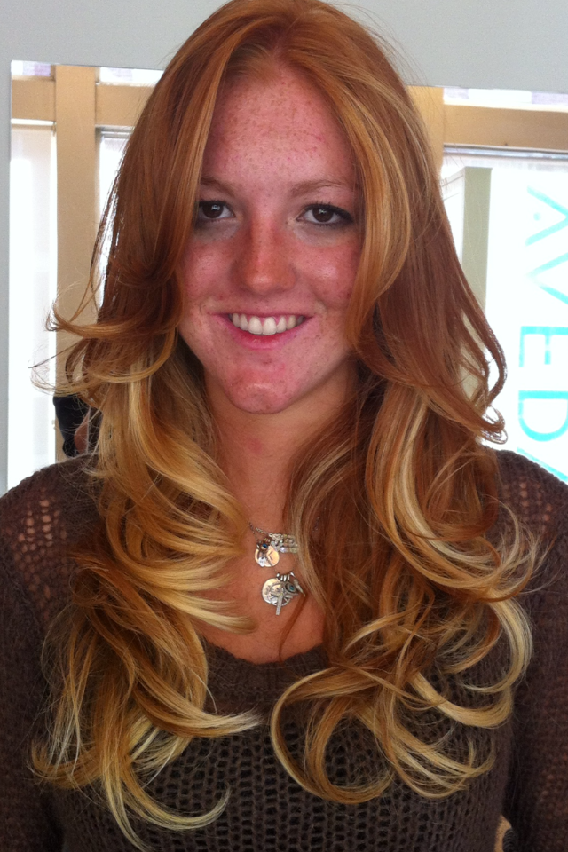 Ombre hair natural red to blonde