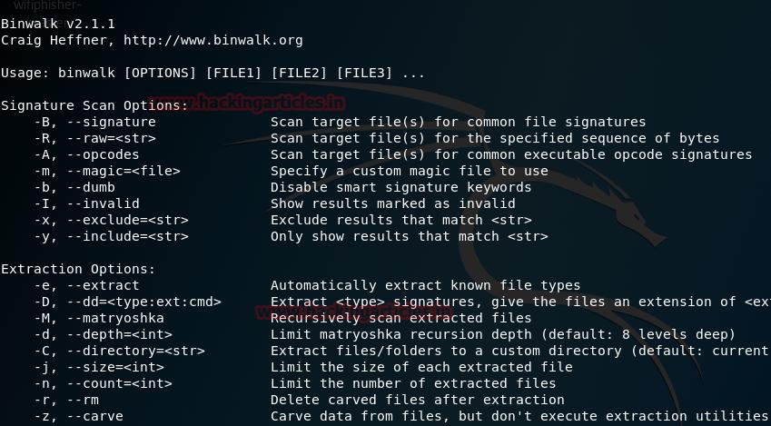 Binwalk Kali Linux forensic tool