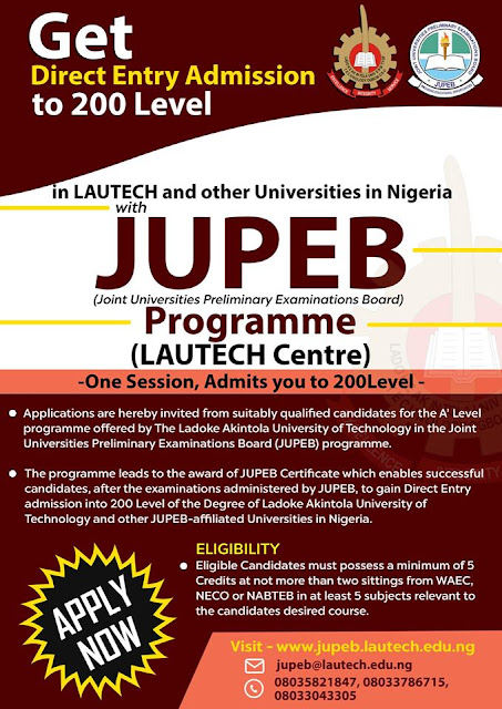 LAUTECH JUPEB Admission Form for 2019/2020 Contact Session