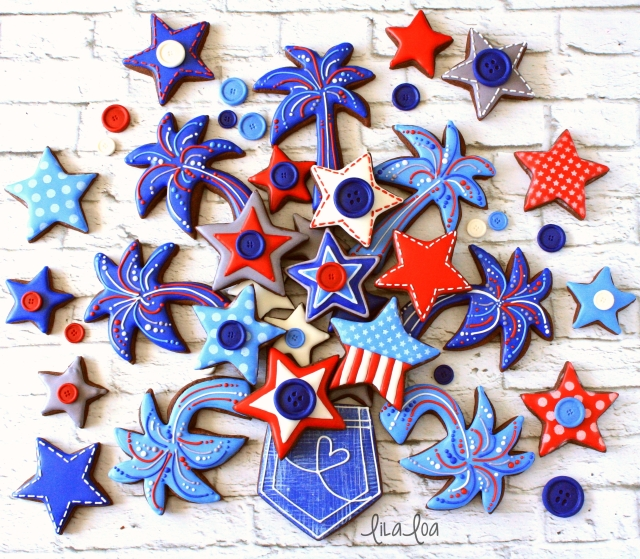 Fourth of July Decorated Sugar Cookies -- Fireworks, Stars, and Jean Pocket