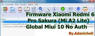Firmware Xiaomi Redmi 6 Pro Sakura (Mi A2 Lite) Global Miui 10 No Auth