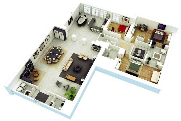 25 Desain 3d Rumah Minimalis 1 Lantai 3 Kamar Tidur