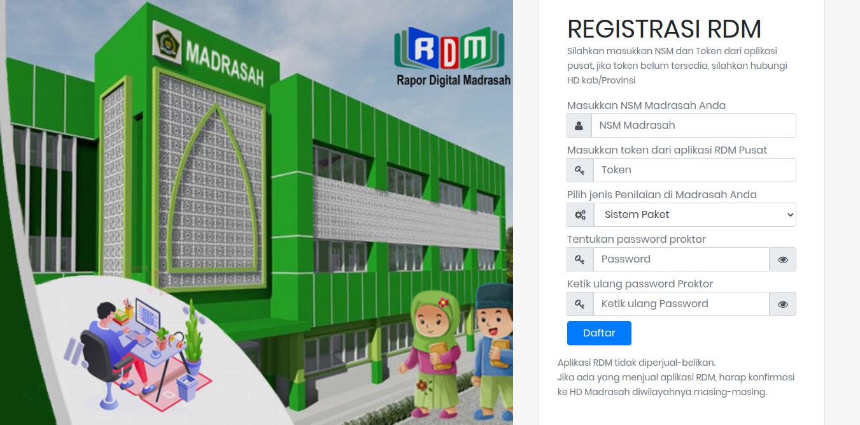 Tampilan jendela registrasi RDM