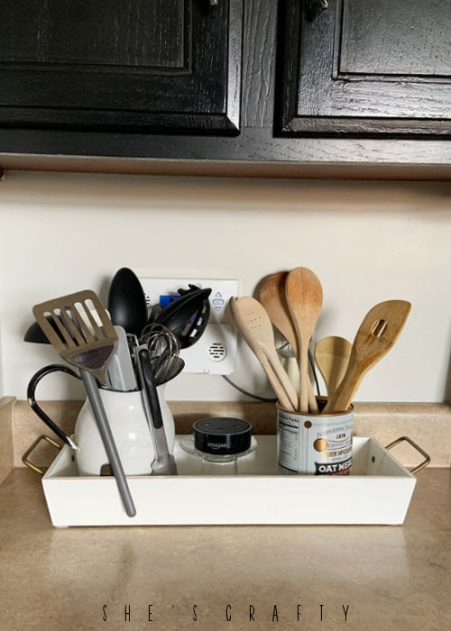 organize counter top clutter with a tray