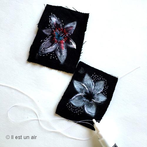 fleurs peintes et brodées