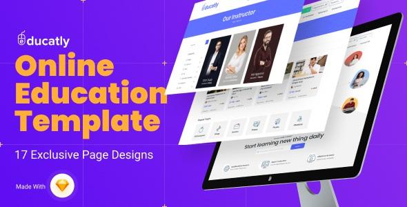 eLearning Website Sketch Template