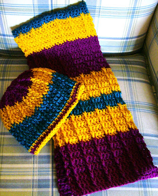 Double Crochet Front Post Scarf for Operation Christmas Child shoebox