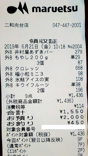 マルエツ 二和向台店 2019/6/21 のレシート