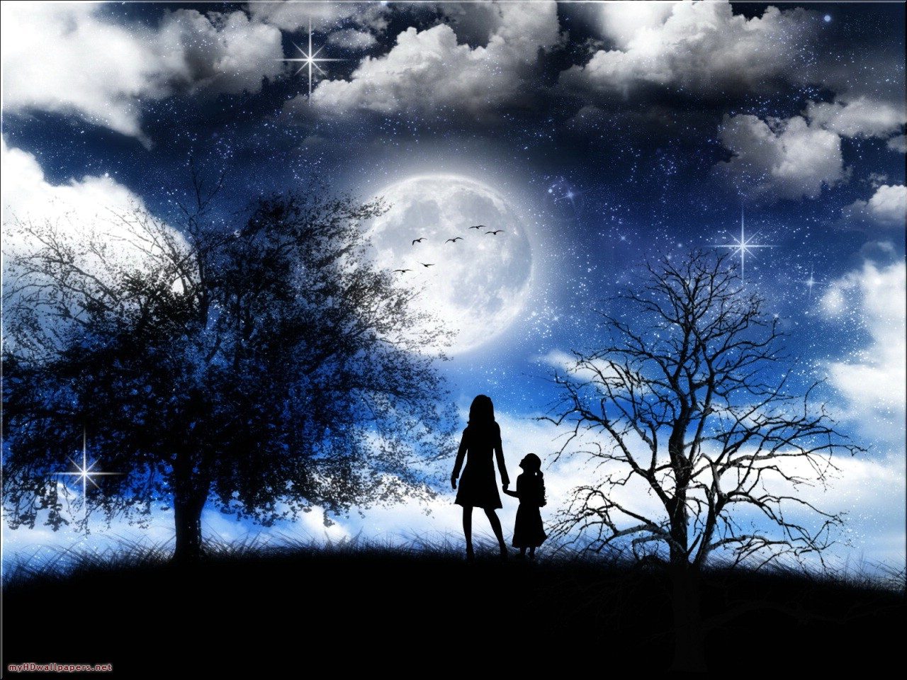 Cute Baby Love Couple Wallpaper Moonlight Wallpapers Desktop Wallpapers