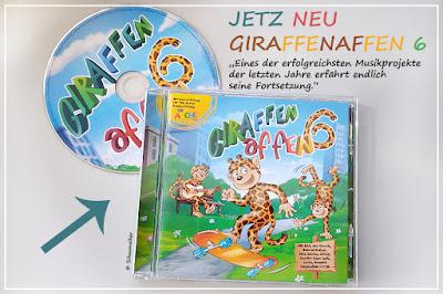 Auf dem Bild zu sehen ist eine CD und die dazu gehörige Hülle von Giraffenaffen 6, das Album erscheint am 3.7.2020