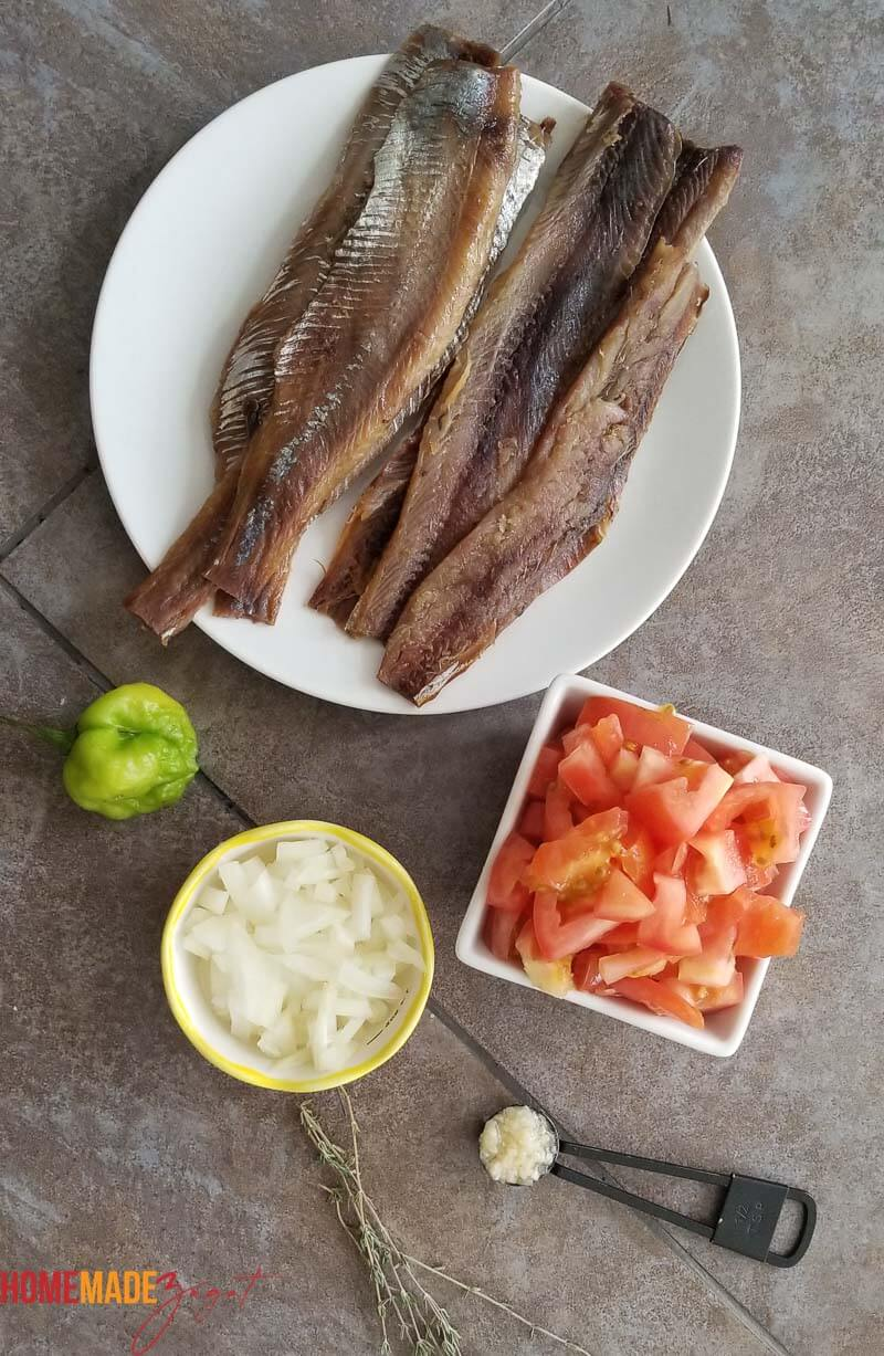 Ingredients of herring, pepper, tomatoes, onions and garlic