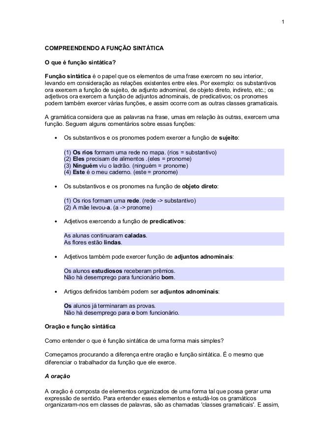 O que é função Sintatica exemplos