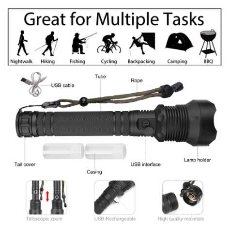 super flashlight XHP70.2 Led 120000 lumens Zoom Tactical torch