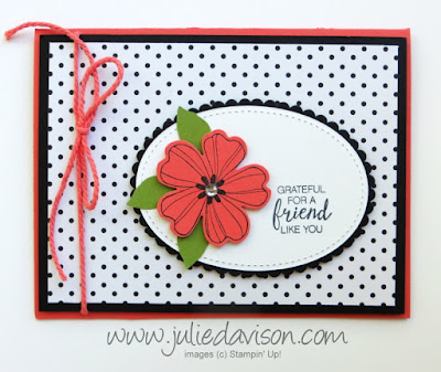 Stampin' Up! Flower Shop friendship card for #GDP089 ~ Color Challenge: Basic Black, Old Olive, Calypso Coral ~ www.juliedavison.com