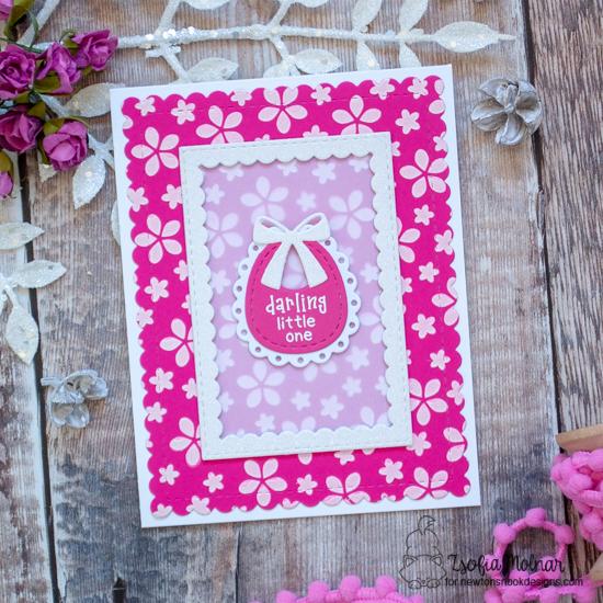 Baby Bib Girl Card by Zsofia Molnar | Bitty Bibs Stamp Set, Baby Bib Die Set, Framework Die Set, Frames & Flags Die Set, and Petite Flowers Stencil by Newton's Nook Designs #newtonsnook #handmade