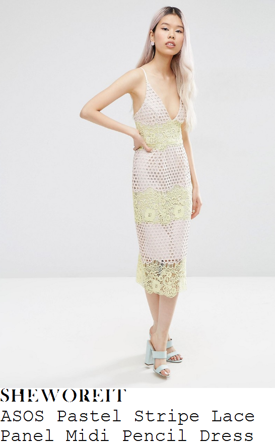 vanessa-white-asos-pale-cream-nude-and-pastel-yellow-sleeveless-cami-strap-plunge-front-floral-lace-panel-detail-textured-pencil-midi-dress