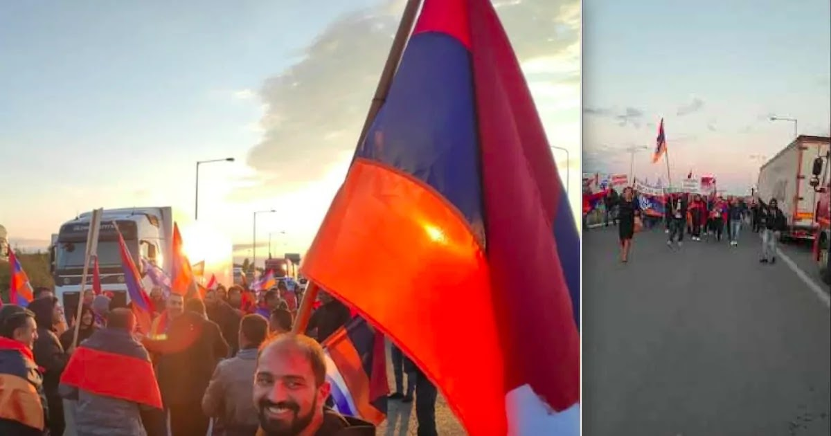 Greeks And Armenians Protest At Turkish Border In Evros Against Turkey's Support For Azerbaijan In Ongoing Artsakh Conflict
