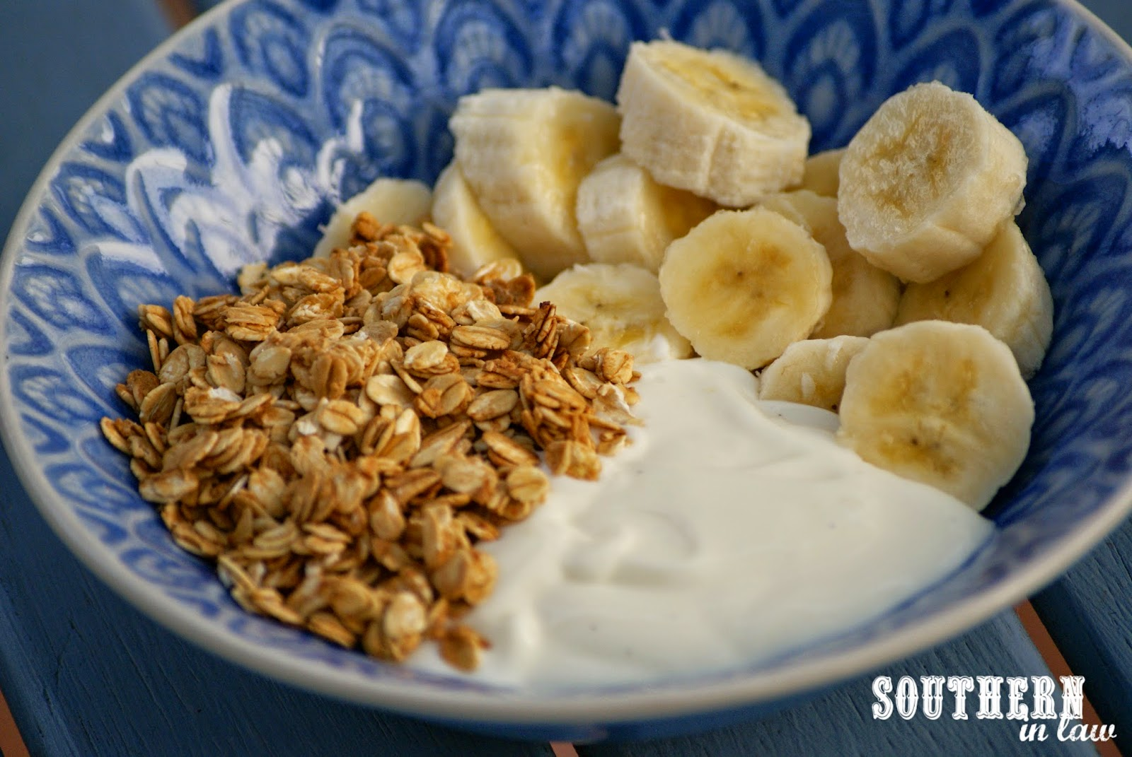 Homemade Honey Vanilla Granola with Bananas and Yogurt