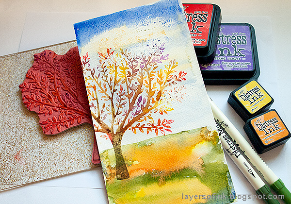 Layers of ink - Autumn Tree with Dimensional Flowers Tutorial by Anna-Karin Evaldsson with SSS Brushed Branches stamp