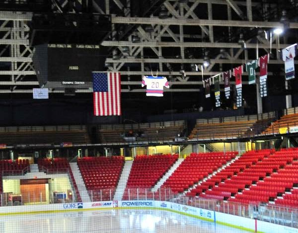 Bob Suter's jersey hanging in the Herb Brooks Arena in Lake Placid, New York